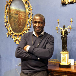 Lennox Cato, of Lennox Cato Antiques and Works of Art, at the LAPADA Art and Antiques Fair in London
